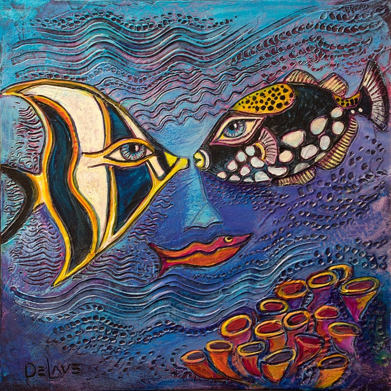Fish Kiss - Mary DeLave Art