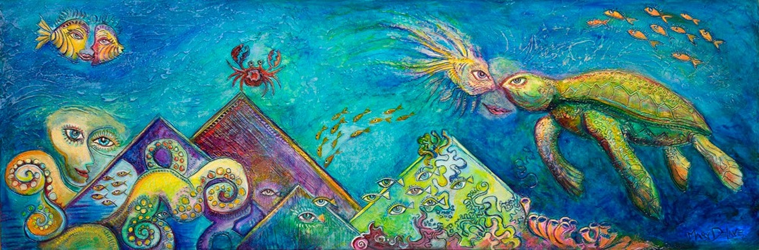 Sea Turtles Garden 3 - Mary DeLave Art