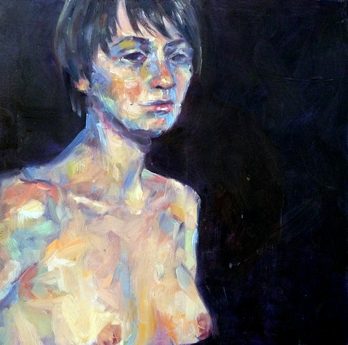 Female Nude Against a Dark Background - Meghan Taylor Art