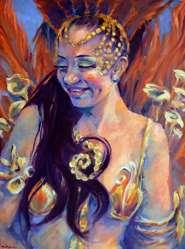 Orange Feathers & Beads - Meghan Taylor Art