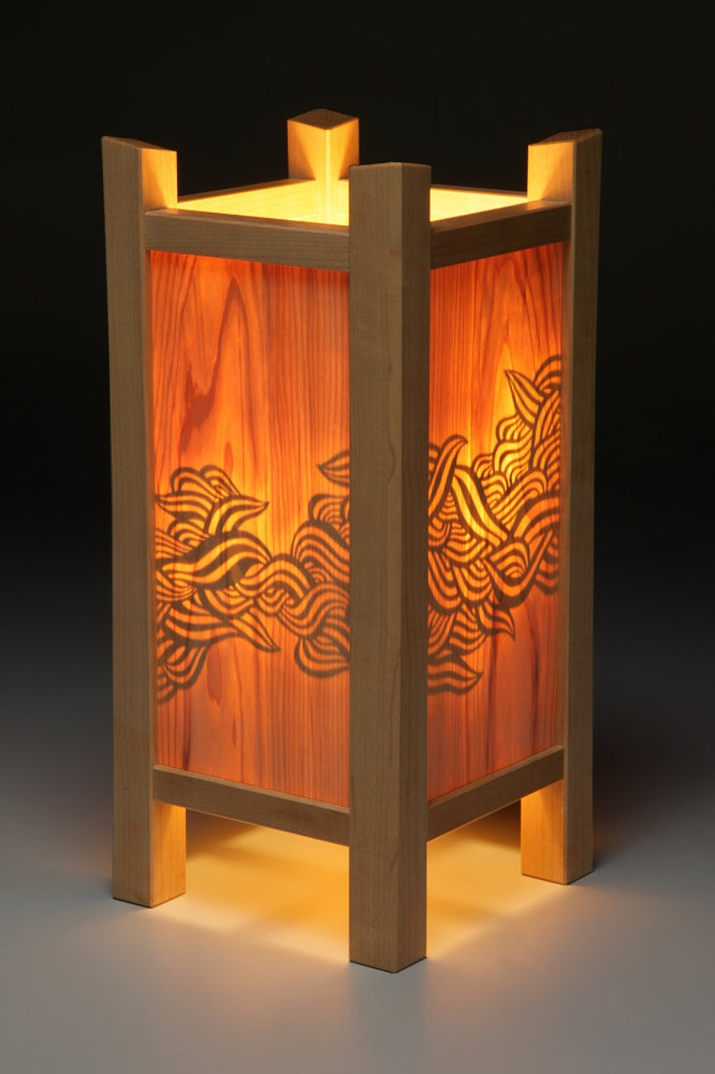 Confluence Table Lamp, Illuminated - Michael Royce Waldeck Woodworker