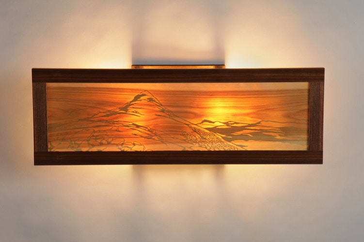 Rocky Knoll Wall Sconce, Illuminated - Michael Royce Waldeck Woodworker