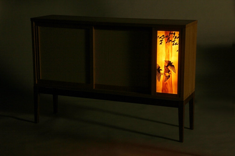 Sparrow Sidebaord, Illuminated - Michael Royce Waldeck Woodworker