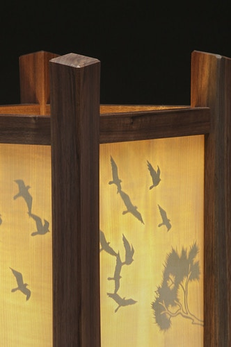 Nesting Birds Table Lamp, Illuminated - Michael Royce Waldeck Woodworker