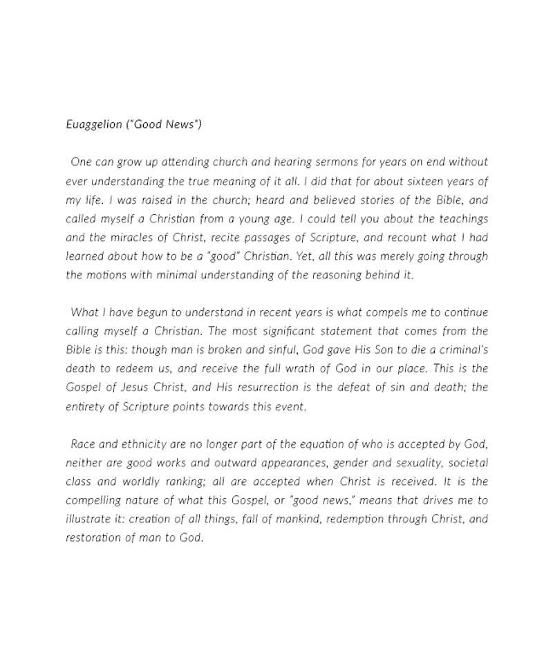 "Thesis Statement: Euaggelion (""Good News"") - Natalie Fong"
