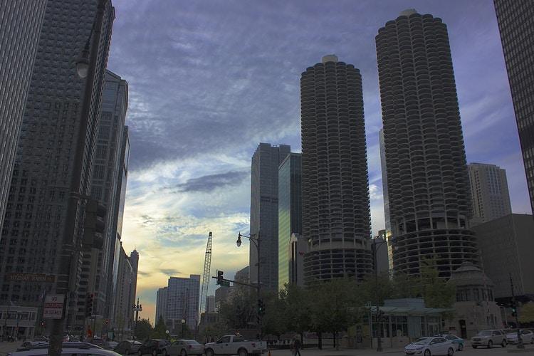Sunset Behind Marina City - Northbound Photography