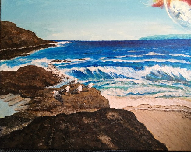 Rocks and Ocean with Seagull - Penney De Pas