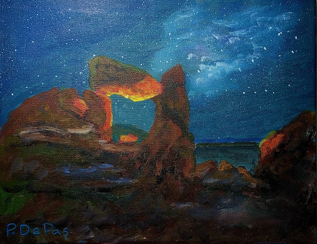 Fire in the Rocks-Starry Night - Penney De Pas