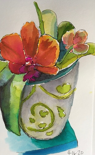 Red Orchid in Ginko Pot - Mini - Penney De Pas