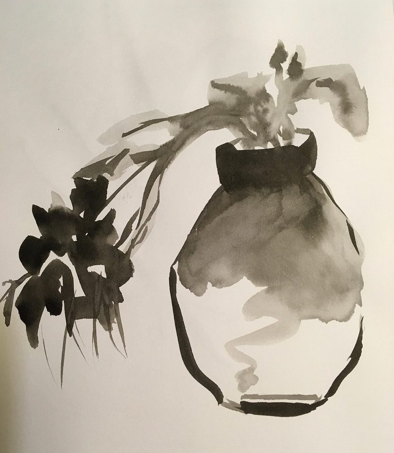 Vase with Tilted Flowers (B&W Ink) - Penney De Pas