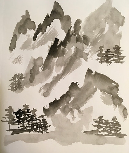 Mountains & Valley (B&W Ink) - Penney De Pas