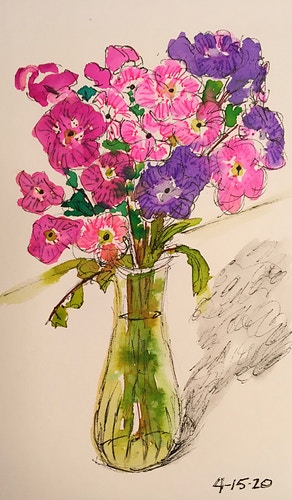 Pink and Purple Posies in a Vase - Mini - Penney De Pas