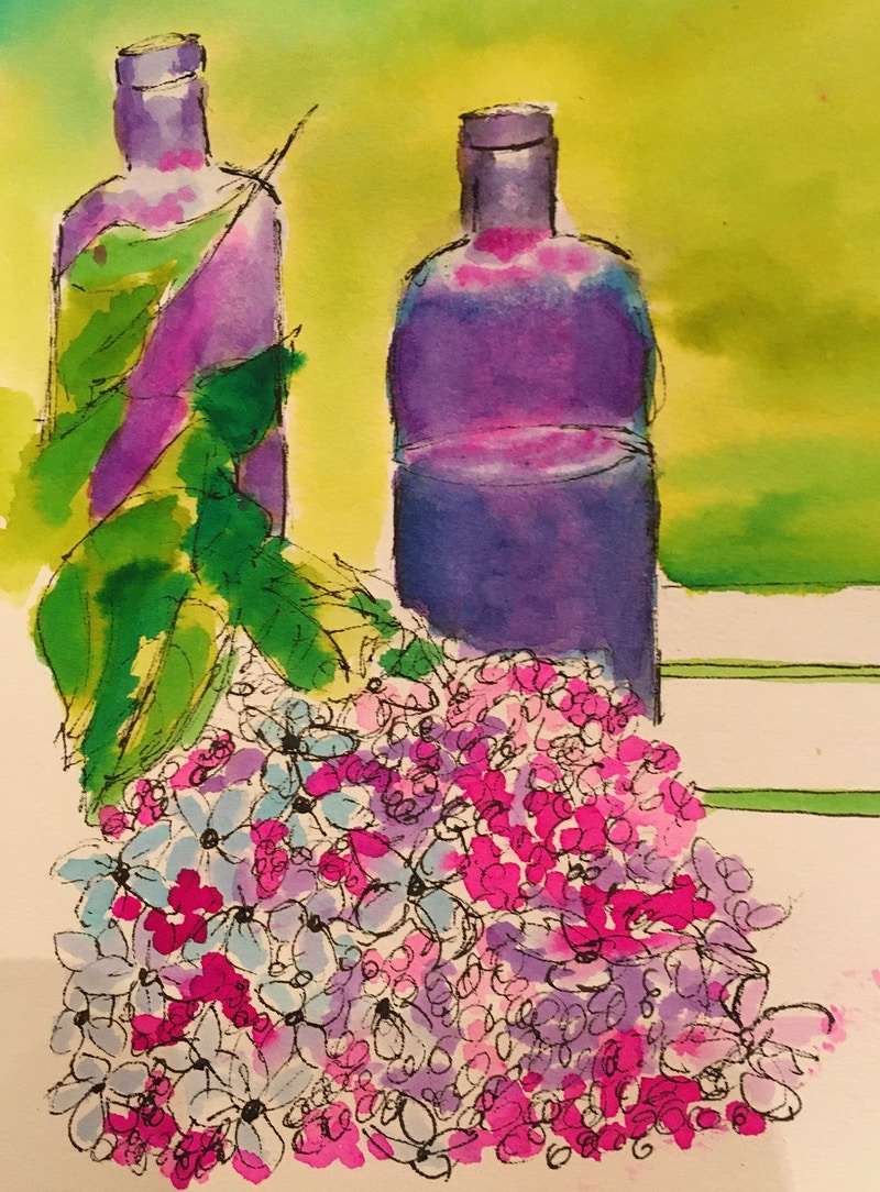 Purple Bottles and Hydrangeas - Penney De Pas
