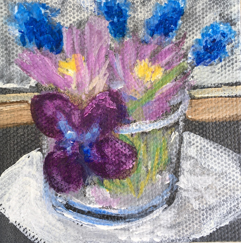 Purple Flowers in a Shot Glass - Mini - Penney De Pas