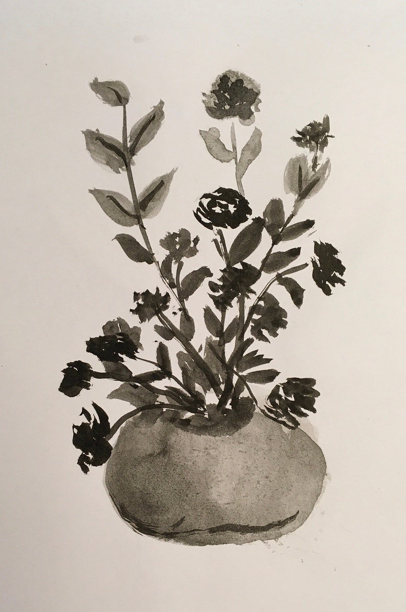 Round Vase with Flowers (B&W Ink) - Penney De Pas