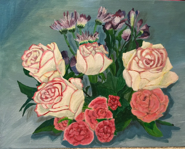 Red-Edged White Roses - Penney De Pas