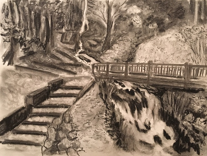 Bridge & Stream in Woods (B&W) - Penney De Pas