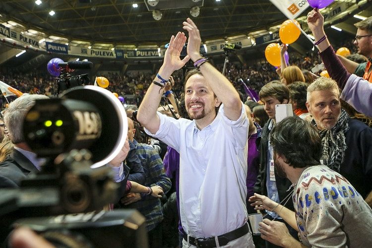 Pablo Iglesias, leader of Spanish Podemos (We Can) left-wing party, arrives at the last rally campaign in Valencia, Friday, Dec. 18, 2015. - Pablo Garrigós