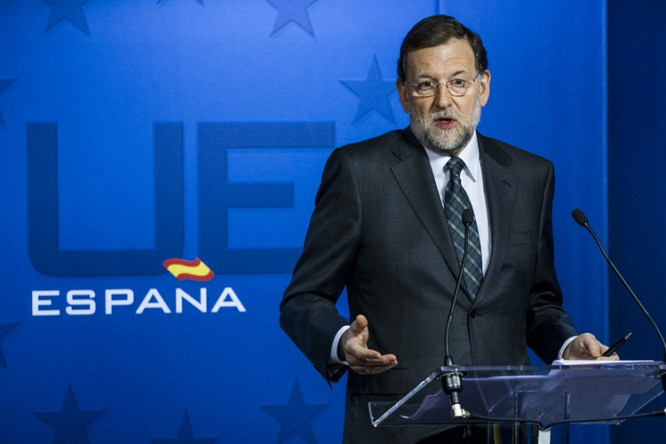 Mariano Rajoy, President of Spain, gives a press conference at the European Council December 2012 to explains his conclusions of the summit to Spanish press - Pablo Garrigós