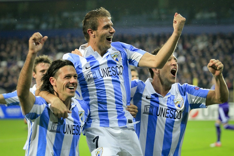 Joaquín, when he was a football player at Malaga CF, celebrates a goal against Anderlecht in Brussels. - Pablo Garrigós