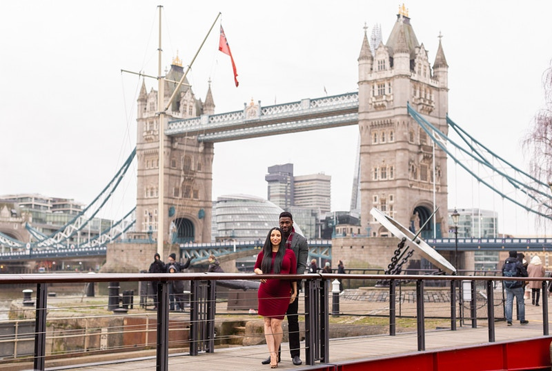 Angelique Steven Tower Bridge St Katherines Dock London Babymoon Vacation - Rajesh Taylor | Mayfair & St James's of London Corporate and Family Photographer
