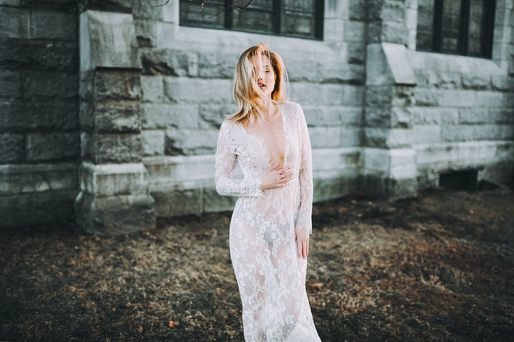 Lace boudoir sunset photoshoot - Creative Portrait Photographer :: Portland, Maine - Savannah Daras