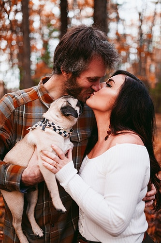 Engagement photoshoot with pug dog kissing - Creative Portrait Photographer :: Portland, Maine - Savannah Daras