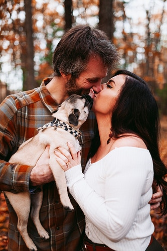 Engagement session with pug dog kissing - Creative Portrait Photographer :: Portland, Maine - Savannah Daras