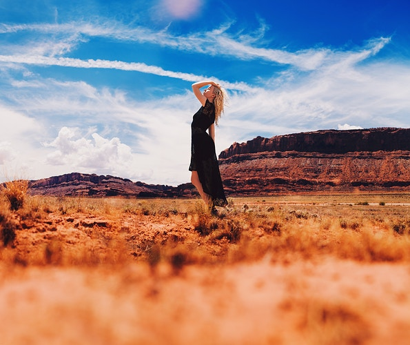 Powerful self portrait - Moab, Utah - red rock formations, bright blue sky, alone in the desert - Creative Portrait Photographer :: Portland, Maine - Savannah Daras