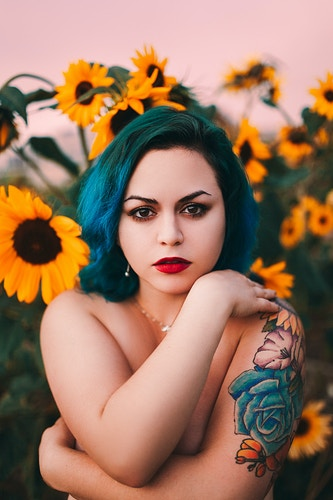 Sunflower implied nude teal hair - Creative Portrait Photographer :: Portland, Maine - Savannah Daras