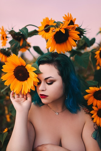 Sunflower implied nude - Creative Portrait Photographer :: Portland, Maine - Savannah Daras