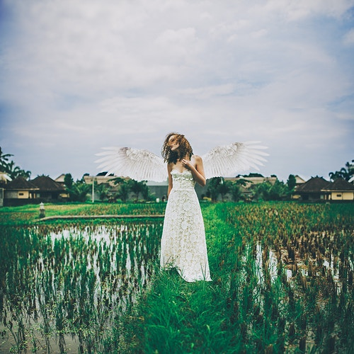 Self portrait - Wedding dress amongst the rice baddies, Ubud Bali - Creative Portrait Photographer :: Portland, Maine - Savannah Daras
