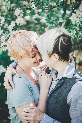 Lesbian couple, flower blossoms - Creative Portrait Photographer :: Portland, Maine - Savannah Daras