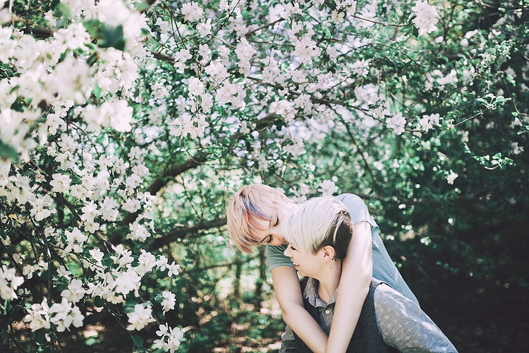 Flower blossoms lesbian couple - Creative Portrait Photographer :: Portland, Maine - Savannah Daras