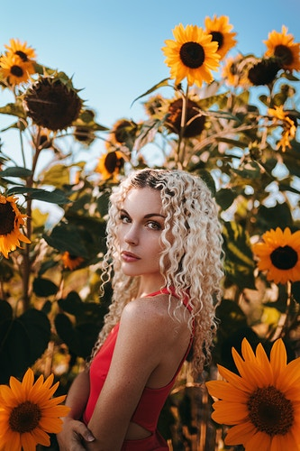 Self portrait amongst a vibrant sunflower garden, Portland Maine - Creative Portrait Photographer :: Portland, Maine - Savannah Daras