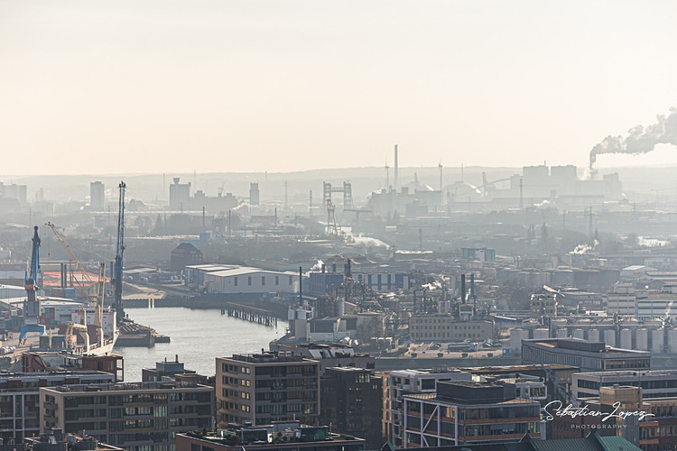 Port of Hamburg from Church of St. Nicholas — in Hamburg, Germany. - Sebastian Lopez Photography