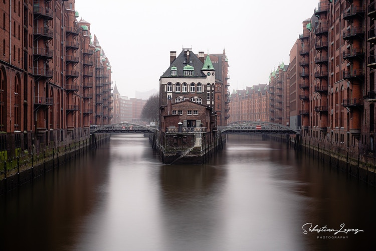 Wasserschloss from Speicherstadt bridge — in Hamburg, Germany. - Sebastian Lopez Photography