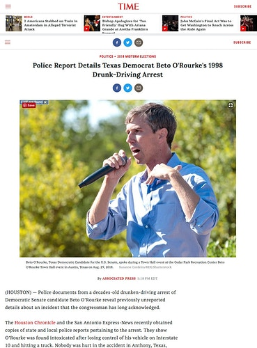 Beto O'Rourke, Time Magazine, Sep 2018 - Suzanne Cordeiro Photography