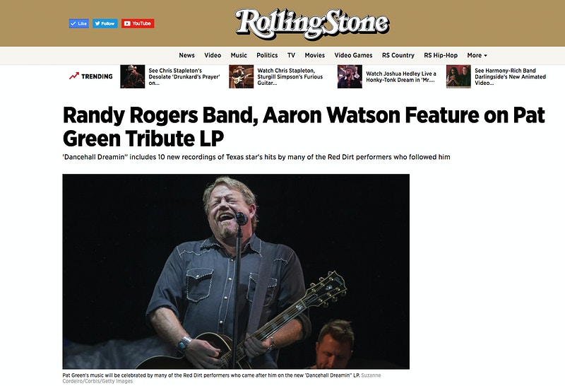 Pat Green, Rolling Stone - Suzanne Cordeiro Photography