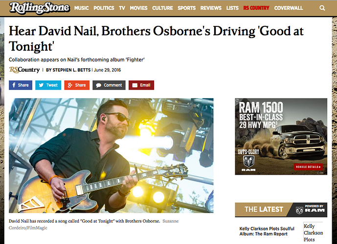 Rollingstone 'Hear David Nail, Brothers Osborne's Driving 'Good at Tonight' - Suzanne Cordeiro Photography