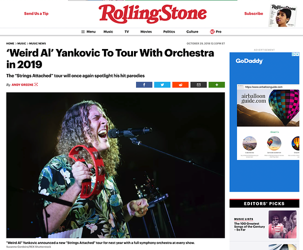 Weird Al Yancovic - Rolling Stone 10/29/18 - Suzanne Cordeiro Photography
