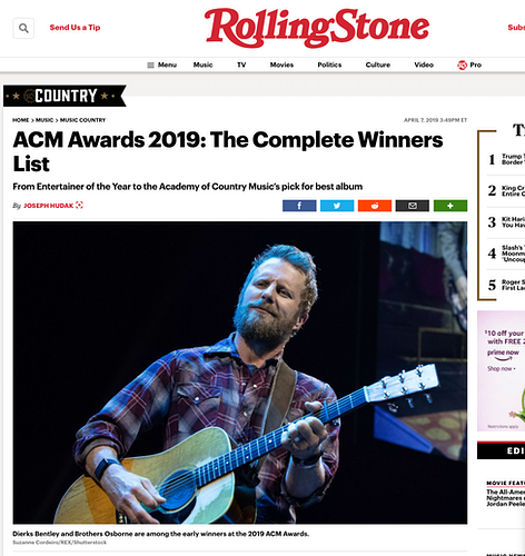 Dierks Bentley, Rolling Stone - April 2019 - Suzanne Cordeiro Photography