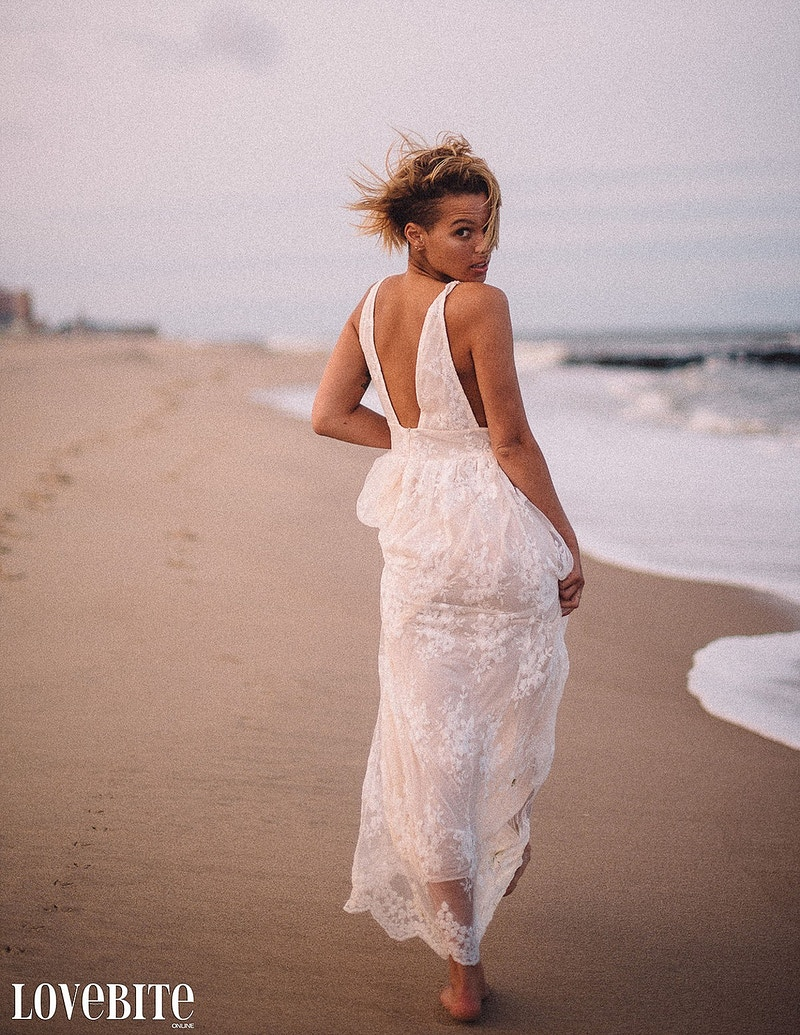 published Lovebite Magazine portrait Jessica NJ beach sand ocean portrait sheer gown wind - Editorial Fashion Portrait Photography Lehigh Valley Philadelphia | Tobias Hibbs