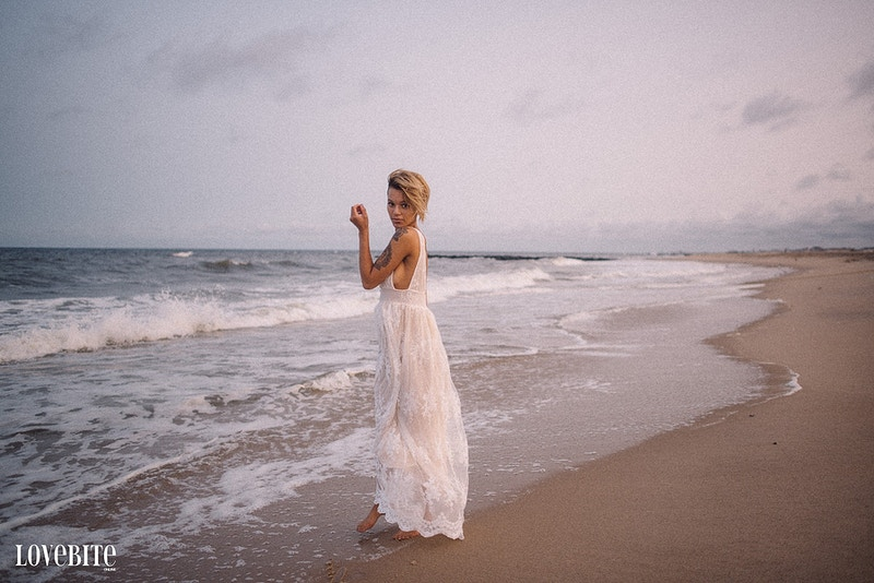 published Lovebite Magazine Jessica NJ beach sand ocean portrait sheer gown - Editorial Fashion Portrait Photography Lehigh Valley Philadelphia | Tobias Hibbs