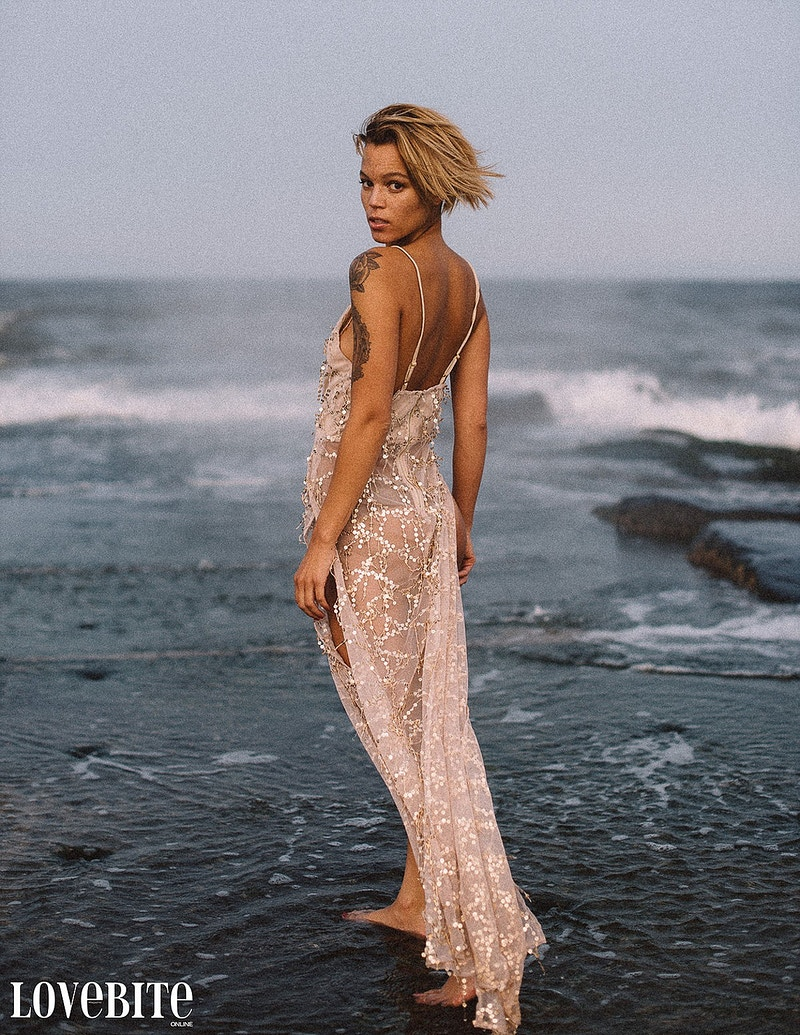 published Lovebite Magazine portrait Jessica NJ beach sand ocean portrait sheer gown - Editorial Fashion Portrait Photography Lehigh Valley Philadelphia | Tobias Hibbs