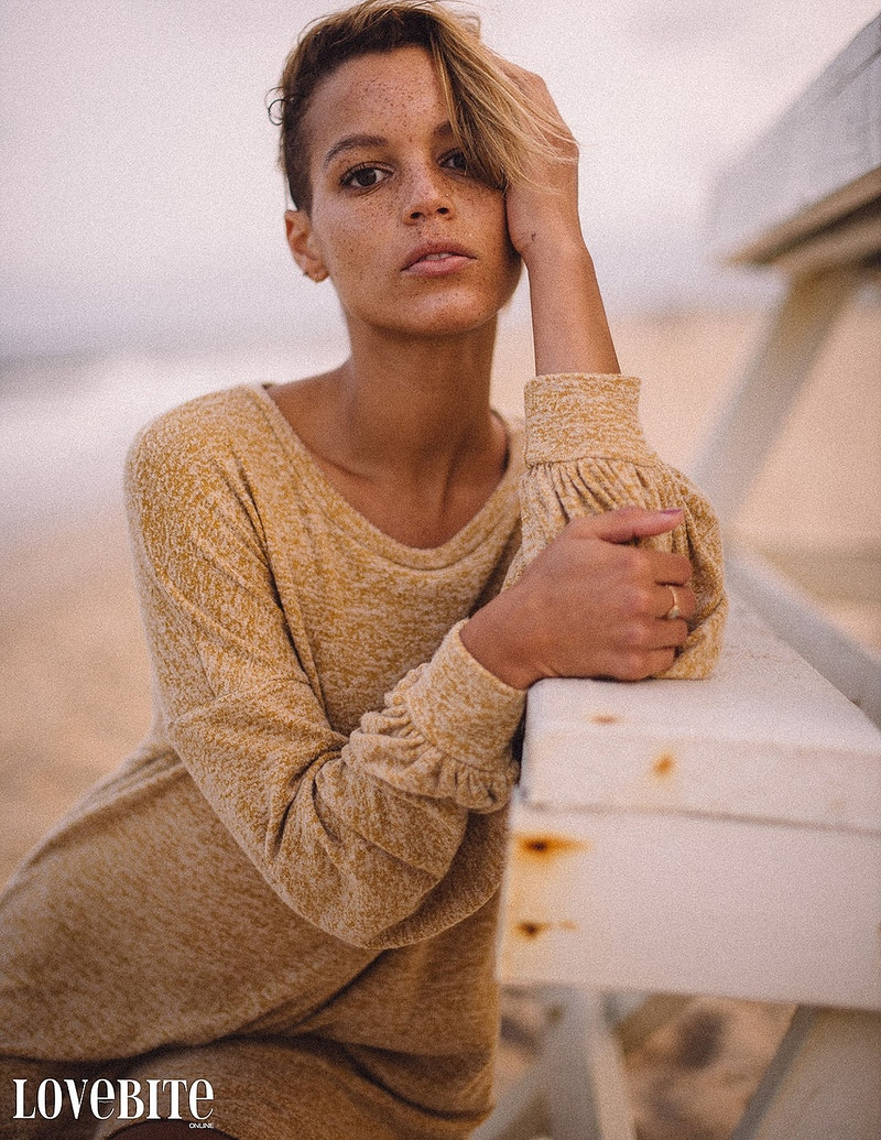 published Lovebite Magazine portrait Jessica NJ beach sand ocean portrait sheer gown freckles - Editorial Fashion Portrait Photography Lehigh Valley Philadelphia | Tobias Hibbs