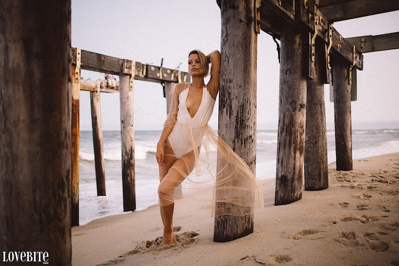 published Lovebite Magazine portrait Jessica NJ beach sand ocean portrait sheer gown swim - Editorial Fashion Portrait Photography Lehigh Valley Philadelphia | Tobias Hibbs