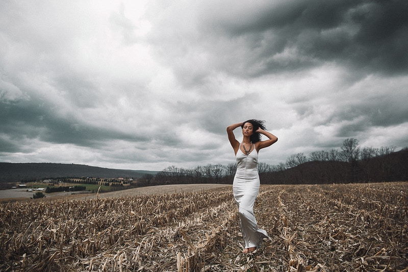 Malika Model Management Agency beauty field cornfield model storm clouds wind Tobias Hibbs fashion editorial published THP portrait Fruk Magazine published - Editorial Fashion Portrait Photography Lehigh Valley Philadelphia | Tobias Hibbs