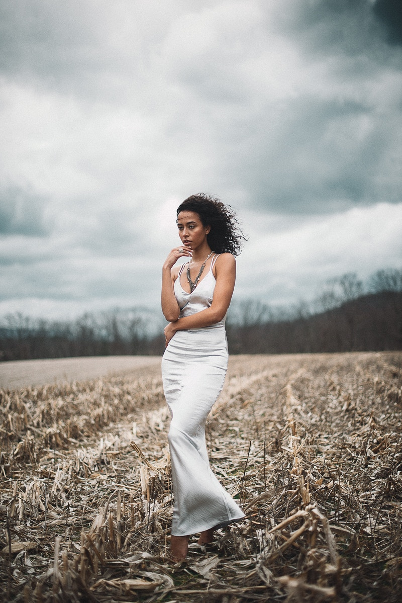 Anjeh Bourne mua Malika Model Management Agency beauty field cornfield model storm clouds wind Tobias Hibbs fashion editorial published THP portrait Fruk Magazine published - Editorial Fashion Portrait Photography Lehigh Valley Philadelphia | Tobias Hibbs