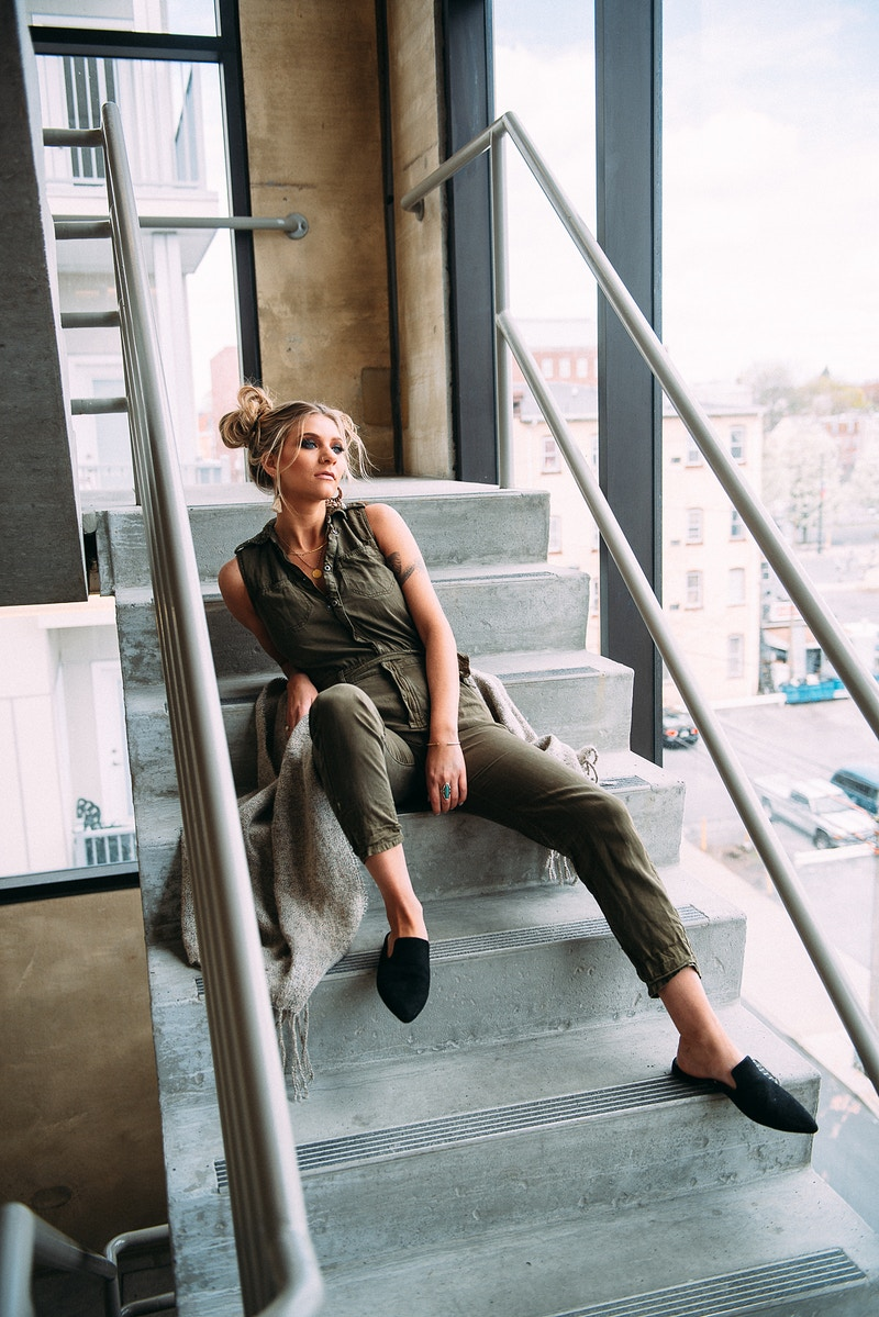 fasion editorial lifestyle THP Tobias Hibbs portrait Meraki Allentown jumpsuit stairwell - Editorial Fashion Portrait Photography Lehigh Valley Philadelphia | Tobias Hibbs
